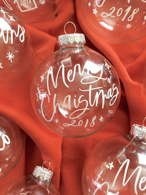 Merry Christmas Clear Glass Ornament