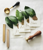 Gold + Greenery Wax Sealed Escort Cards
