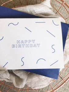 Minimal Lines Happy Birthday Card