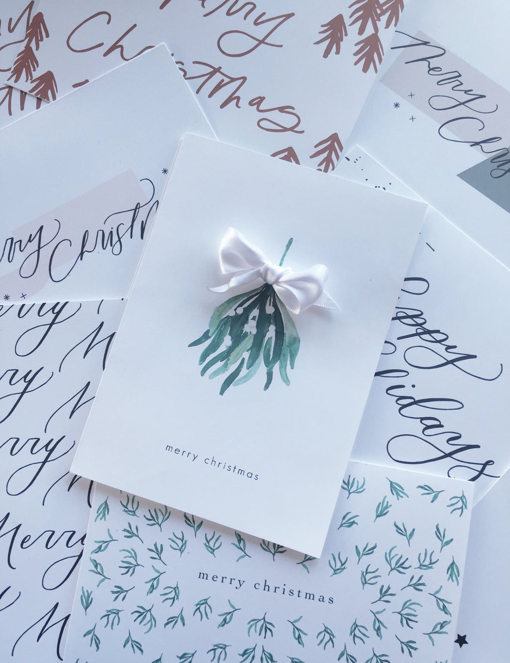 Mistletoe Greeting Card with Bow