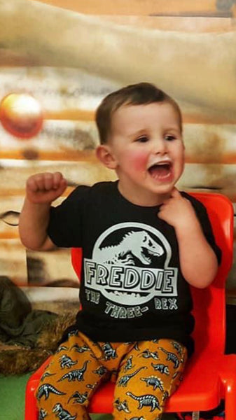 Personalised Jurassic birthday tee