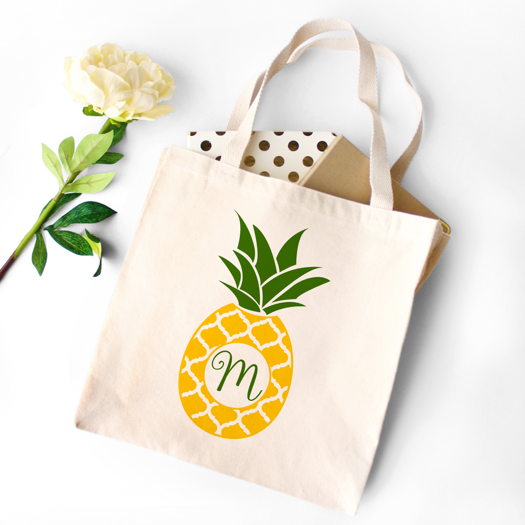 Monogrammed Canvas Tote Bag with Yellow and Green Pineapple by Jessica Meredith Design