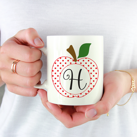 Teacher Appreciation Gifts - Apple Monogram Coffee Mug by Jessica Meredith Design