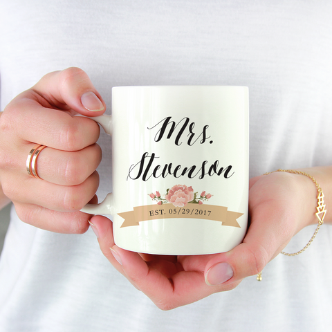 Custom Mrs Mug - Bridal Shower Gift - Personalized Wedding Mug | Jessica Meredith Design