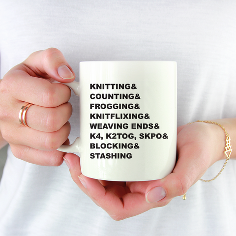 Gifts for Knitters - Knitting Words Typography Coffee Mug