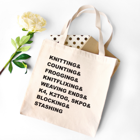Knitting Words Typography Canvas Tote Bag