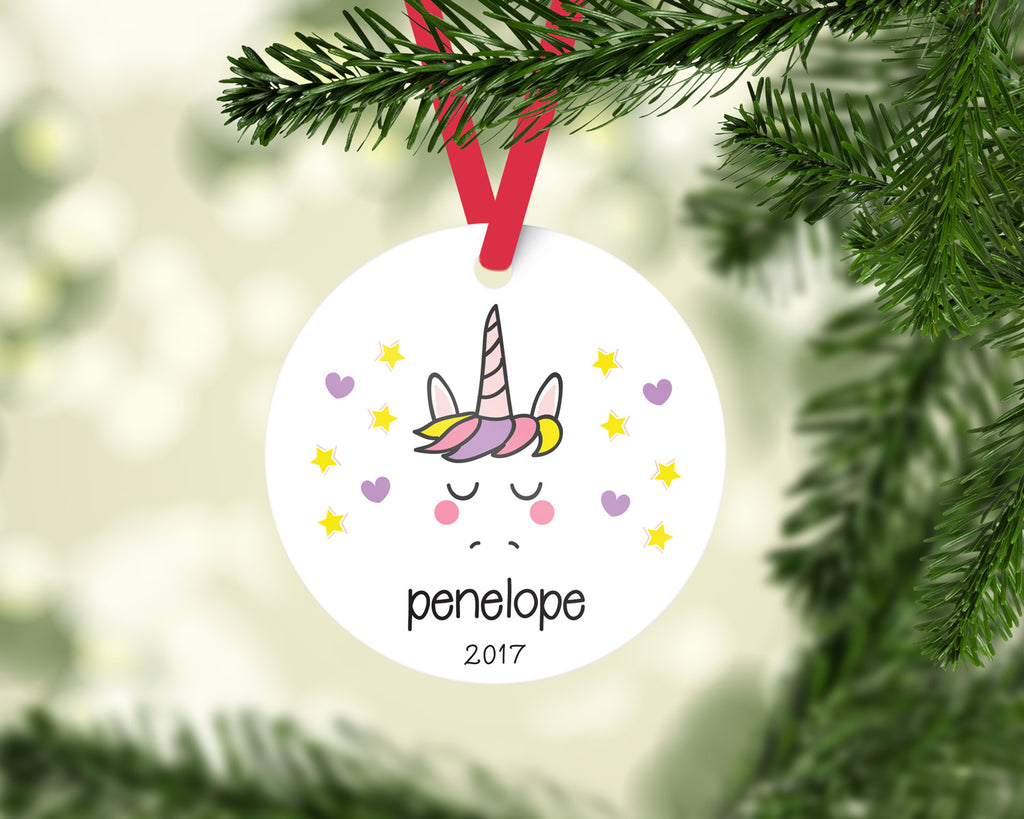Personalized Unicorn Christmas Ornament by Jessica Meredith Design