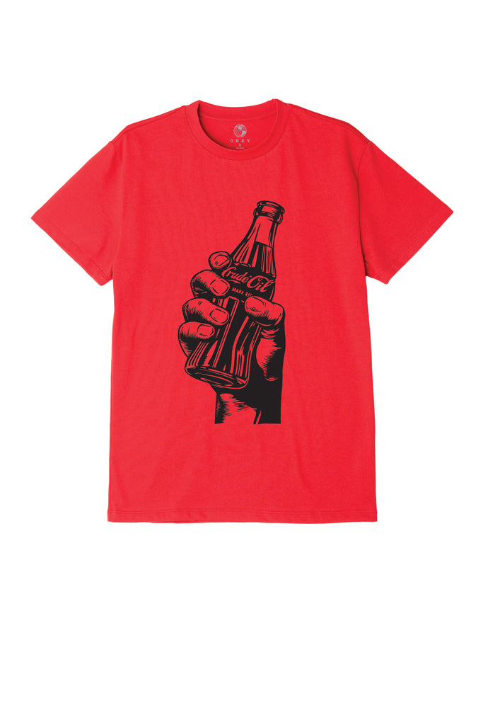 Drink Crude Oil Sustainable T-Shirt Red | OBEY Clothing