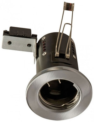 240v Mains GU10 Fire Rated Downlighter Satin Chrome