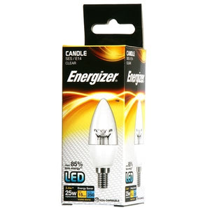 3.4 Watt Energizer LED Warm White 250lm Clear E14 Candle