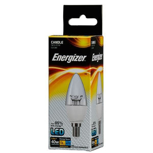 5.9 Watt Energizer LED Warm White 470lm Clear E14 Candle