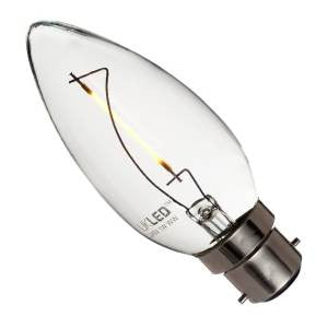 CL1BC-83-UK - 240v 1w Filament LED B22d 830 C35 120lm