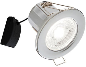 V-Tac 5W IP65 Fire Rated Chrome Dimmable LED Down Light with Antiglare Lens + Samsung Chip in Warm White (5Yr Warranty) VT-885
