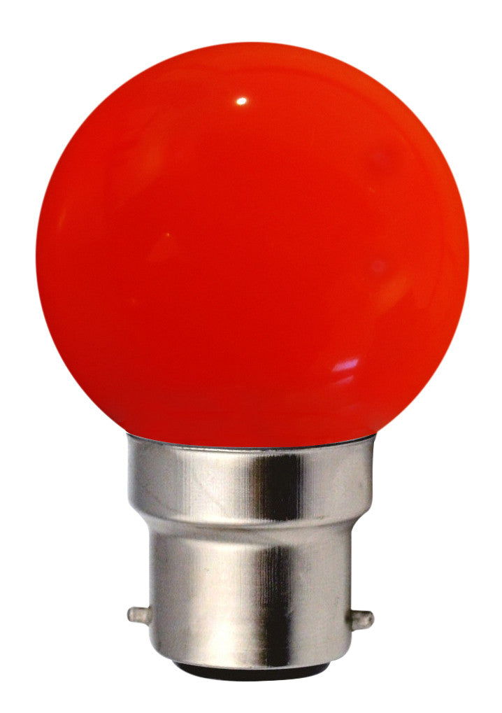 160140 - Golfball LED 1W B22 30Lm Red