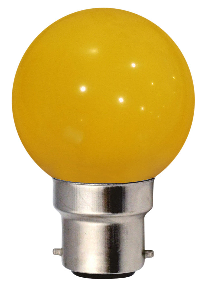 160141 - Golfball LED 1W B22 30Lm Yellow