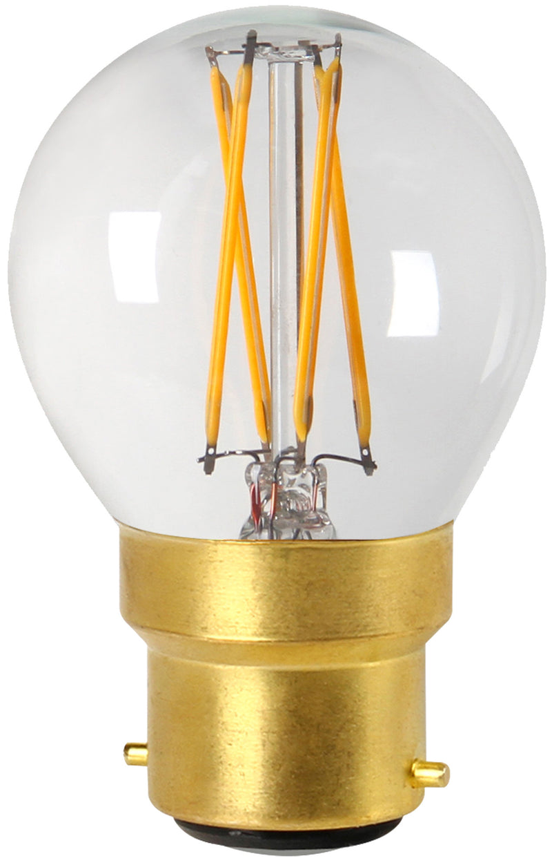 28658 - Golfball G45 Filament LED 4W B22 2700K 350Lm Dim. Cl.