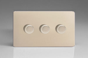 Varilight JDNDP503S - 3-Gang 2-Way Push-On/Off Rotary LED Dimmer 3 x 0-250W (Max 30 LEDs) (Twin Plate)