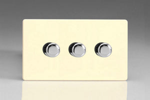 Varilight JDWDP503S - 3-Gang 2-Way Push-On/Off Rotary LED Dimmer 3 x 0-250W (Max 30 LEDs) (Twin Plate)