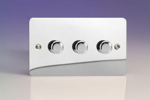 Varilight JFCDP503 - 3-Gang 2-Way Push-On/Off Rotary LED Dimmer 3 x 0-250W (Max 30 LEDs) (Twin Plate)