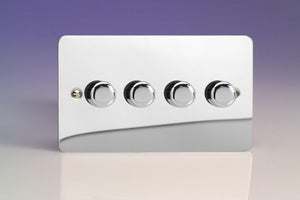 Varilight KFCDP184 - 4-Gang 2-Way Push-On/Off Rotary LED Dimmer 4 x 15-180W (max 20 LEDs) (Twin Plate)