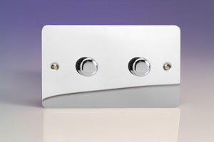 Varilight KFCDP302 - 2-Gang 2-Way Push-On/Off Rotary LED Dimmer 2 x 20-300W (max 36 LEDs) (Twin Plate)