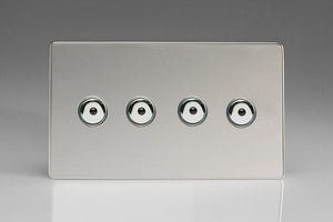 Varilight IJDCI104S - 4-Gang 1-Way Remote/Touch Control Master LED Dimmer 4 x 0-100W (1-10 LEDs) (Twin Plate)