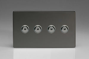 Varilight IJDII104S - 4-Gang 1-Way Remote/Touch Control Master LED Dimmer 4 x 0-100W (1-10 LEDs) (Twin Plate)