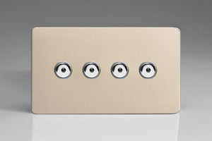 Varilight IJDNI104S - 4-Gang 1-Way Remote/Touch Control Master LED Dimmer 4 x 0-100W (1-10 LEDs) (Twin Plate)