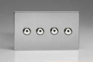 Varilight IJDSI104S - 4-Gang 1-Way Remote/Touch Control Master LED Dimmer 4 x 0-100W (1-10 LEDs) (Twin Plate)