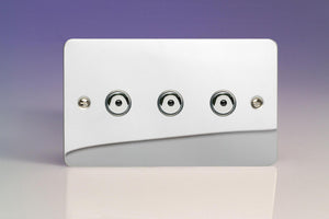 Varilight IJFCI103 - 3-Gang 1-Way Remote/Touch Control Master LED Dimmer 3 x 0-100W (1-10 LEDs) (Twin Plate)