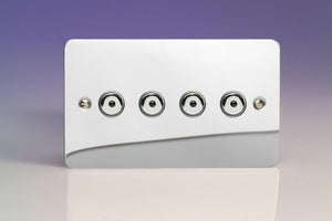 Varilight IJFCI104 - 4-Gang 1-Way Remote/Touch Control Master LED Dimmer 4 x 0-100W (1-10 LEDs) (Twin Plate)