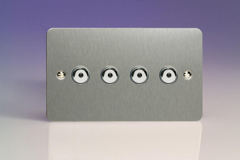 Varilight IJFSI104 - 4-Gang 1-Way Remote/Touch Control Master LED Dimmer 4 x 0-100W (1-10 LEDs) (Twin Plate)