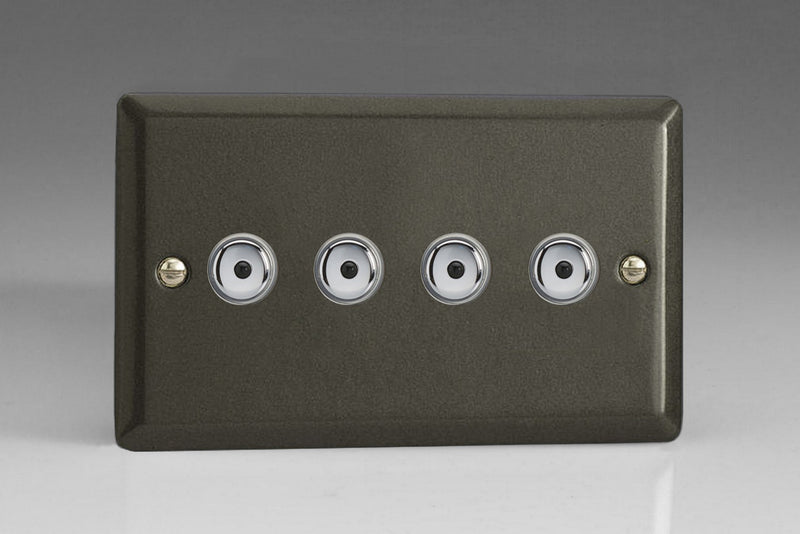 Varilight IJPI104 - 4-Gang 1-Way Remote/Touch Control Master LED Dimmer 4 x 0-100W (1-10 LEDs) (Twin Plate)