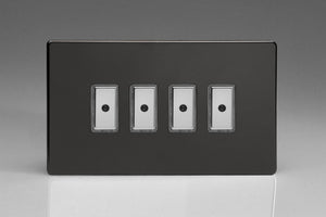 Varilight JDLE104S - 4-Gang 1-Way V-Pro Multi-Point Remote/Tactile Touch Control Master LED Dimmer 4 x 0-100W (1-10 LEDs) (Twin Plate)