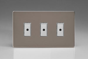 Varilight JDRE103S - 3-Gang 1-Way V-Pro Multi-Point Remote/Tactile Touch Control Master LED Dimmer 3 x 0-100W (1-10 LEDs) (Twin Plate)