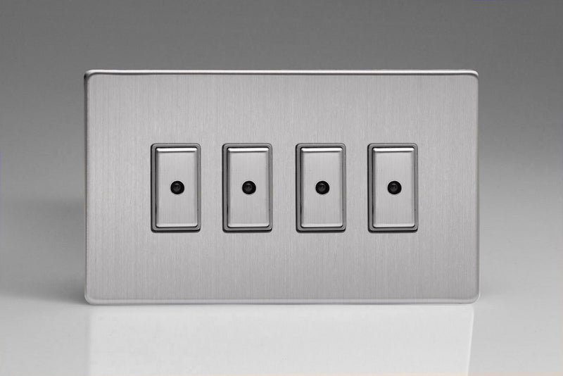 Varilight JDSE104S - 4-Gang 1-Way V-Pro Multi-Point Remote/Tactile Touch Control Master LED Dimmer 4 x 0-100W (1-10 LEDs) (Twin Plate)