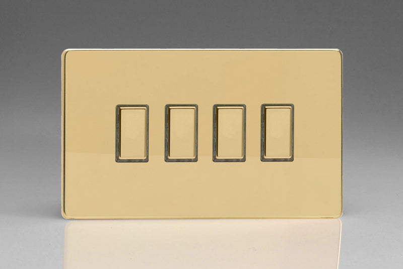 Varilight JDVES004S - 4-Gang Tactile Touch Control Dimming Slave for use with Multi-Point (formerly Eclique2) Master on 2-Way Circuits (Twin Plate)