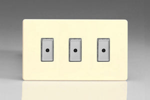Varilight JDWE103S - 3-Gang 1-Way V-Pro Multi-Point Remote/Tactile Touch Control Master LED Dimmer 3 x 0-100W (1-10 LEDs) (Twin Plate)
