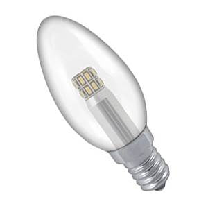 CL3SES-83-CR - 240v 3w E14 Plain Clear 35mm LED Candle