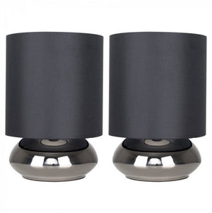 MiniSun Pair Of Black Chrome Touch Table Lamps With Black Shades