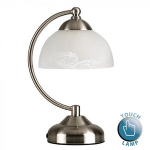 MiniSun Stamford Satin Nickel Crescent Touch Table Lamp Glass Shade