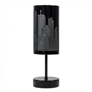 MiniSun Stick Base Touch Table Lamp With Black Skyline Cut-out Shade Gloss