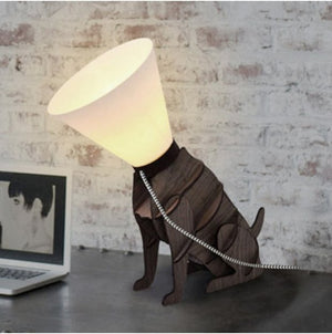 MiniSun Wooden Sitting Dog Table Lamp With White Cone Shade