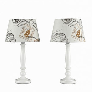 Minisun Pair of Shabby n Chic Table lamps with Cream and Brown Stamp Shades