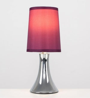 Minisun Trumpet Touch Table Lamp Chrome with a Purple shade