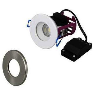 Robus Ramada 8.5W Fire Rated IP65 Dimmable Warm White Downlight (Comes Aith White and Black Chrome Bezels)
