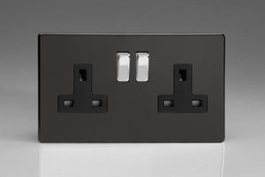 Varilight XDL5BS - 2-Gang 13A Double Pole Switched Socket with Metal Rockers