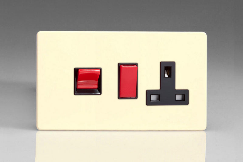 Varilight XDY45PNBS.PD - 45A Cooker Panel + Neon with 13A Double Pole Switched Socket Outlet (Red Rocker)