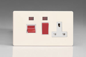 Varilight XDY45PNWS.PD - 45A Cooker Panel + Neon with 13A Double Pole Switched Socket Outlet (Red Rocker)