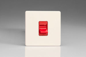 Varilight XDY45SS.PD - 45A Cooker Switch (Single Plate, Red Rocker)